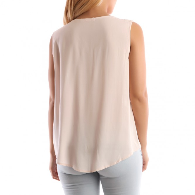 Top empiècement brodé motif aztèque rose