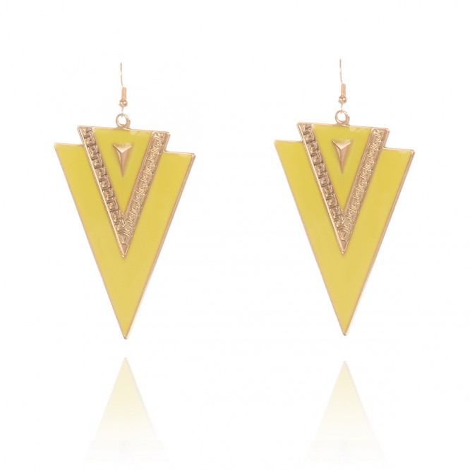 Boucles d'oreilles triangles bicolore jaune