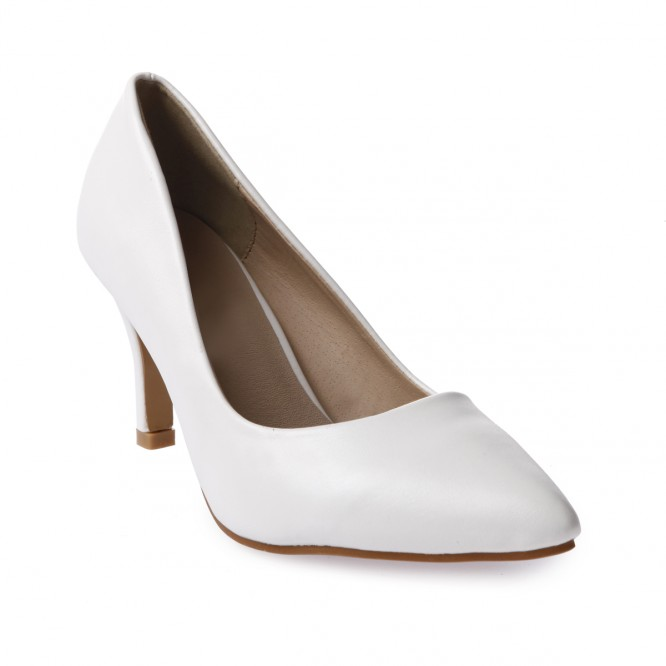 Escarpins pointus en simili cuir blanc