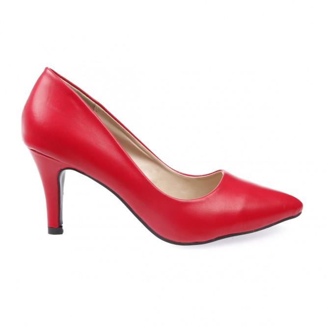 Escarpins pointus en simili cuir rouge