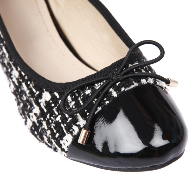Ballerines aspect tweed noir
