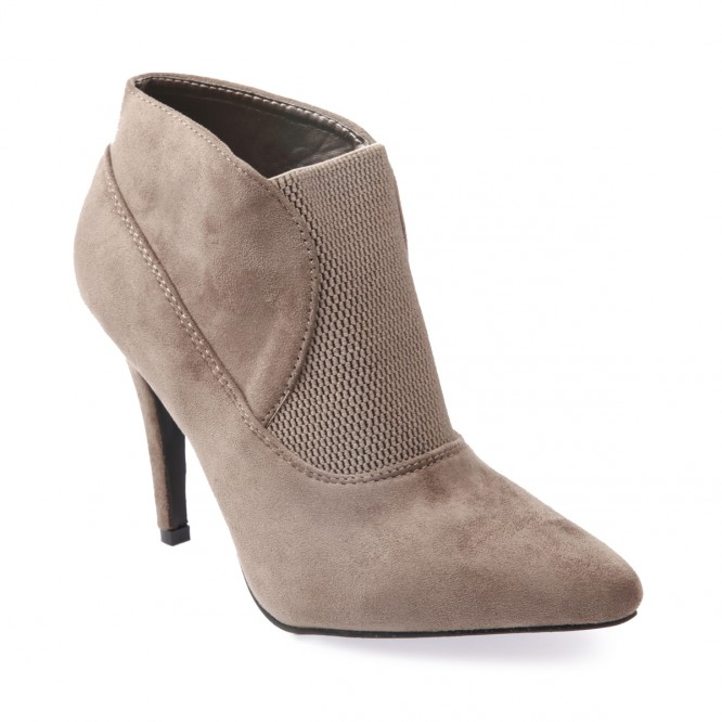 Bottines à talons et bout pointu taupe