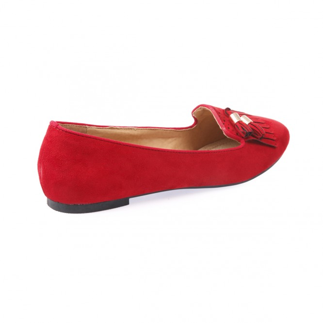 Slippers grande taille aspect daim rouge