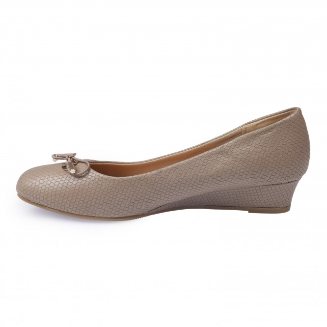Ballerines compensées grande taille bout carré taupe