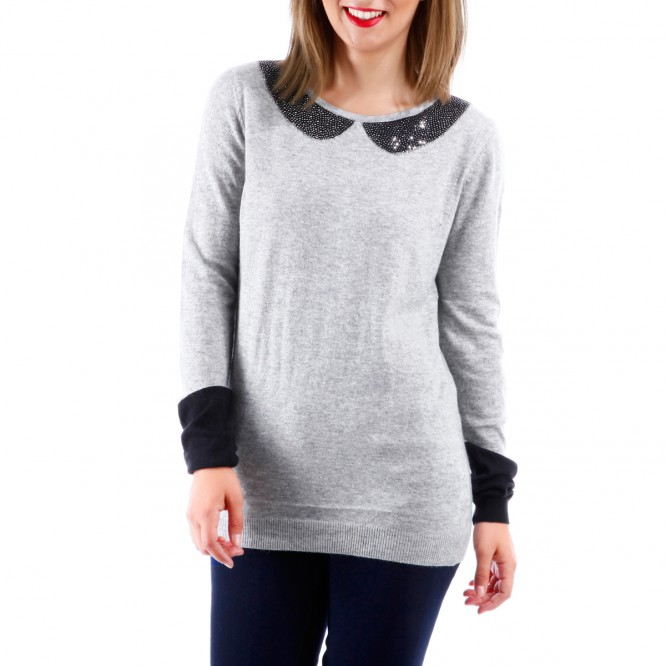 Pull effet col claudine avec strass gris