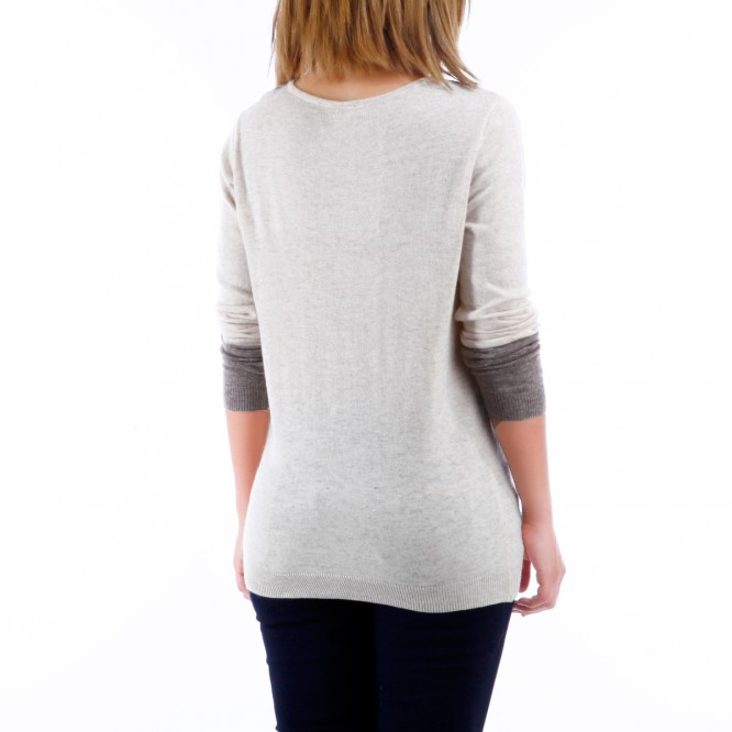 Pull effet col claudine avec strass beige