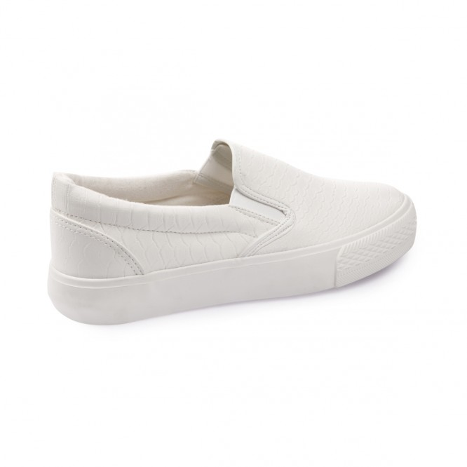 Slip-on aspect peau de croco blanc