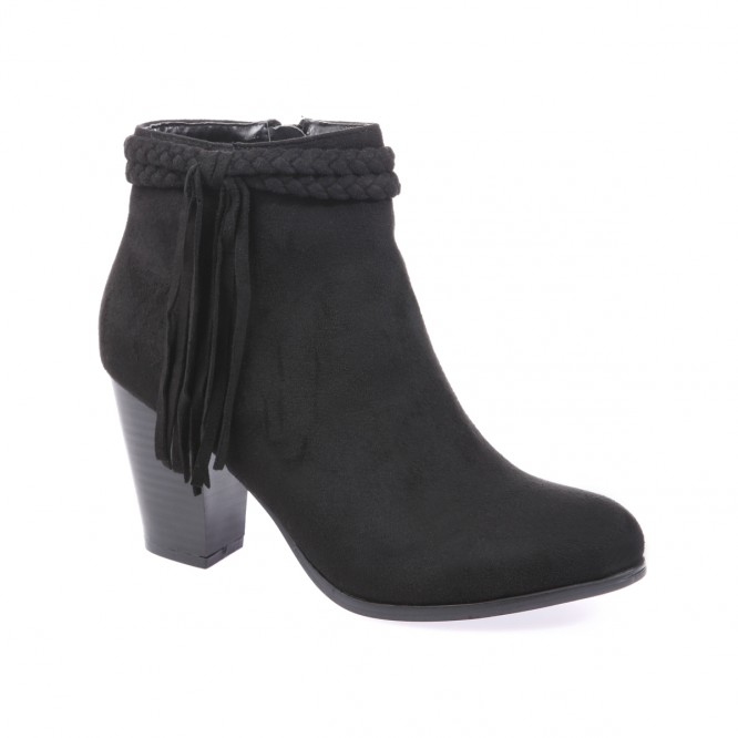 Bottines doubles tresses & franges noir