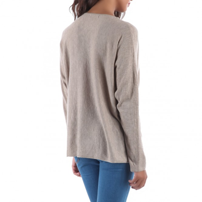 Pull manches longues col tressé taupe