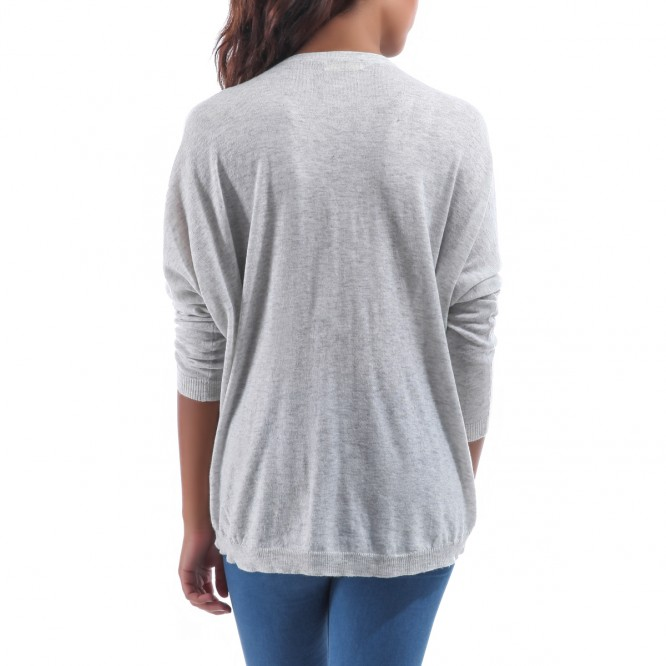 Pull col V bijoux manches longues gris