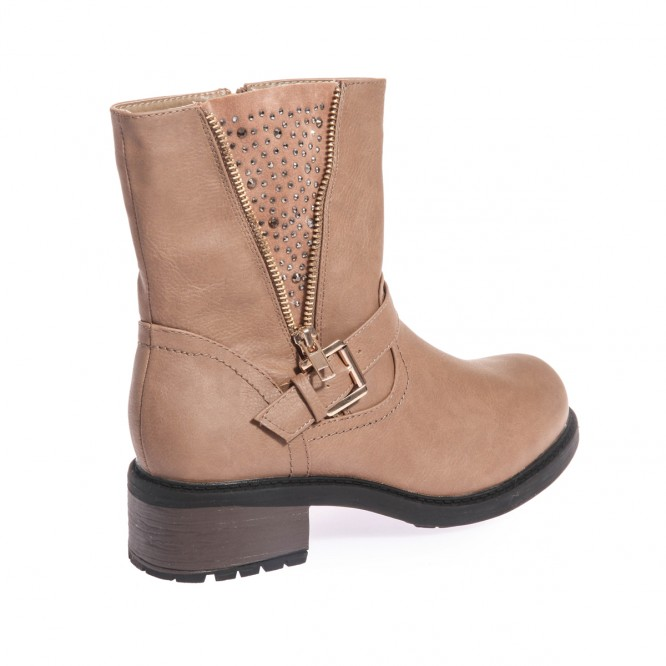 Bottines strass zippés taupe
