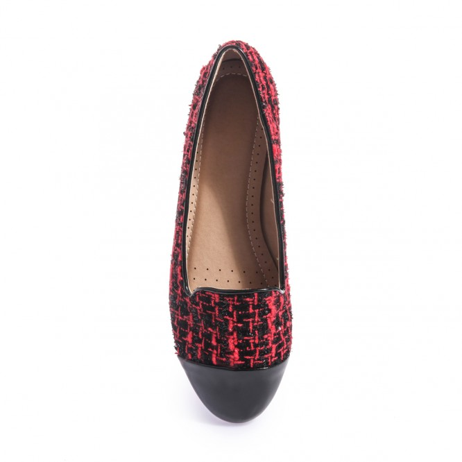 Slippers aspect tweed rouge