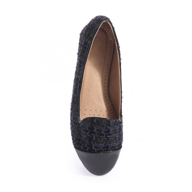 Slippers aspect tweed bleu