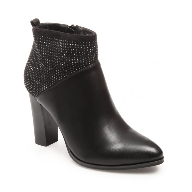 Bottines à talon carré et strass noir