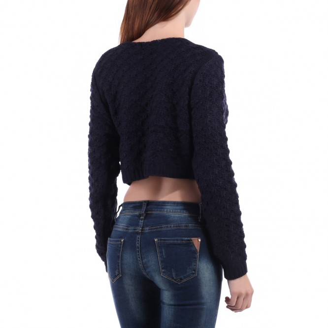 Pull crop top ample bleu nuit