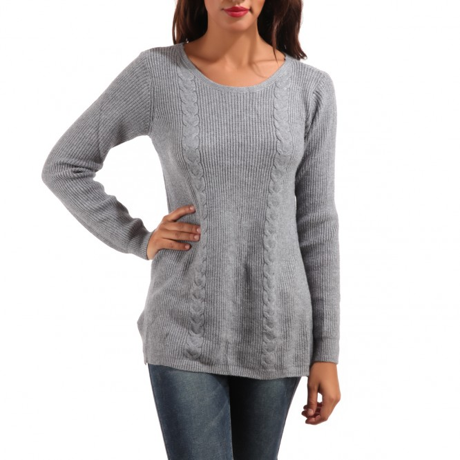 Pull double torsade gris