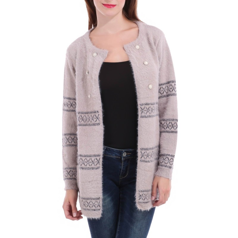 Gilet ample style officier taupe