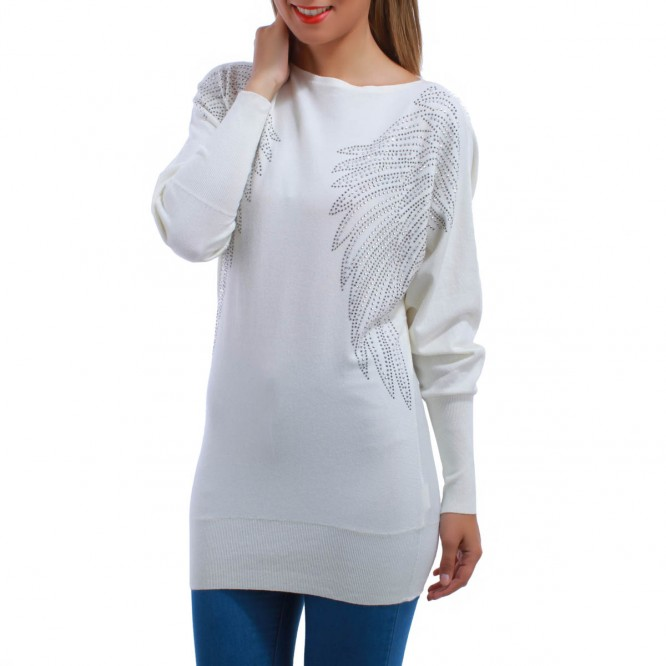 Pull emmanchures ailes d'ange blanc