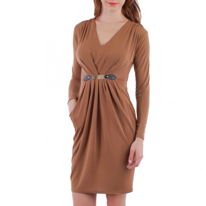 Robe empire plissée marron