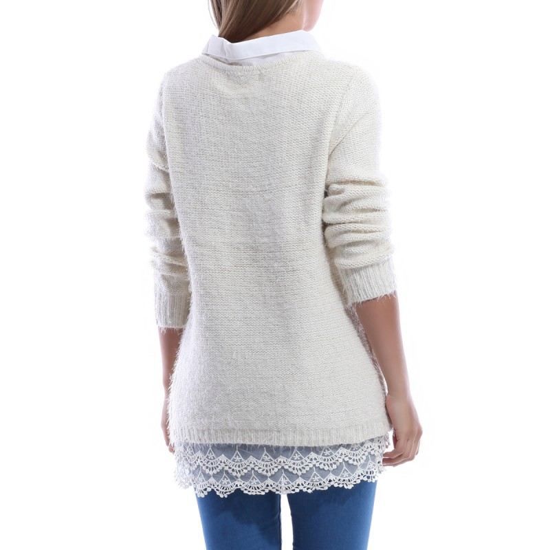 Pull col chemise effet mohair beige