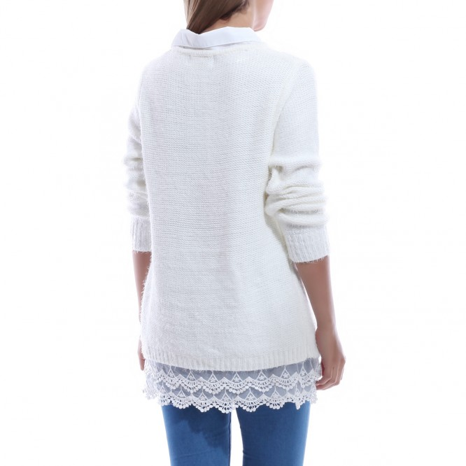 Pull col chemise effet mohair blanc