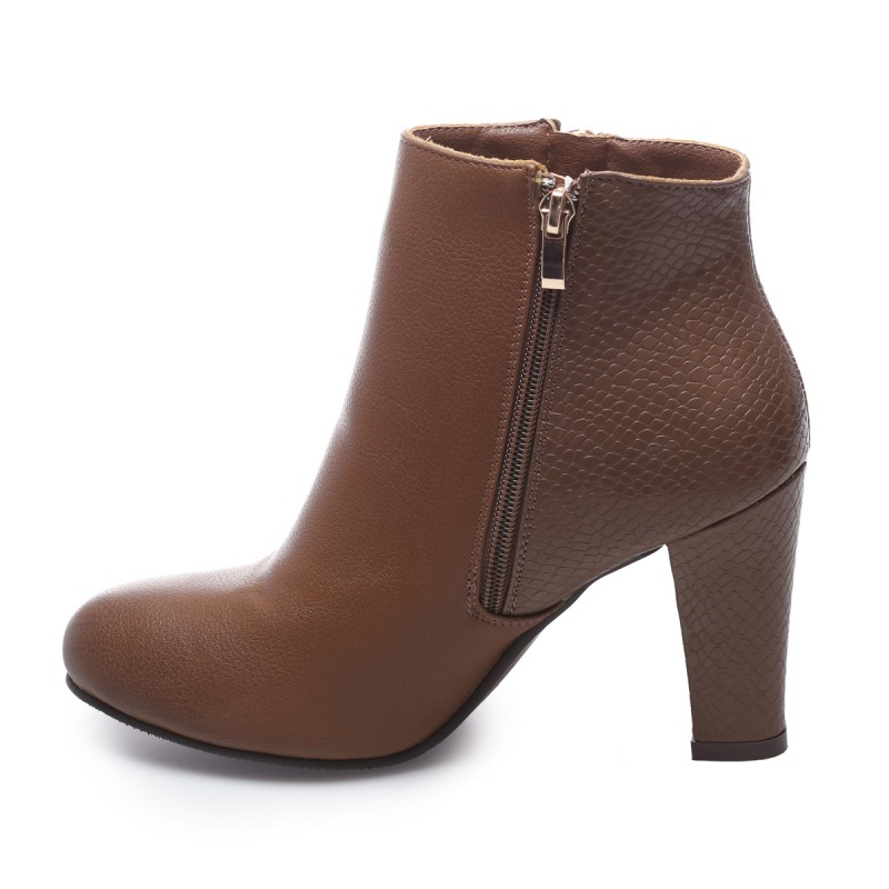Bottines reptile vernis aspect cuir marron