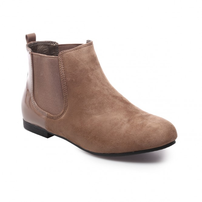 Bottines chelsea détail vernis taupe
