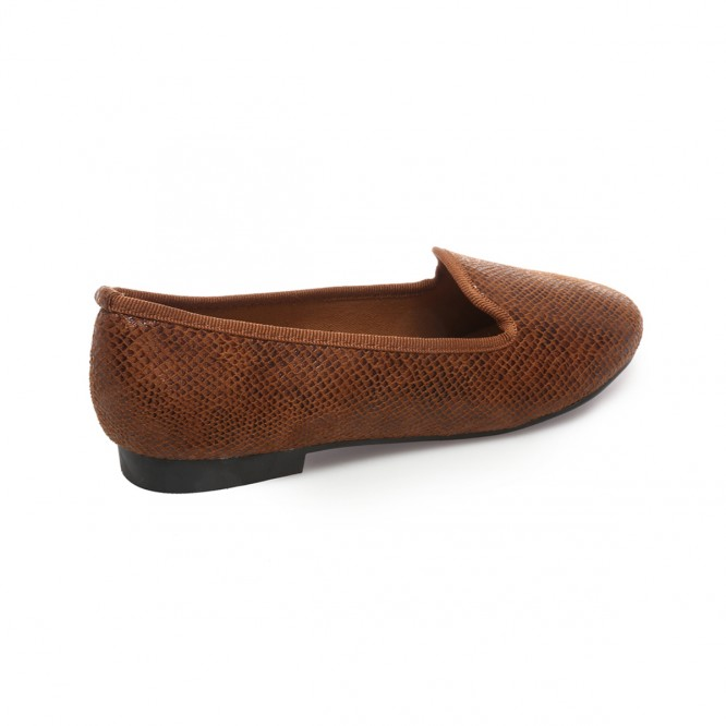 Slippers effet serpent camel