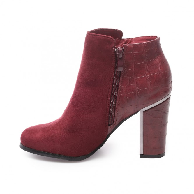 Bottines simili daim et croco bordeaux