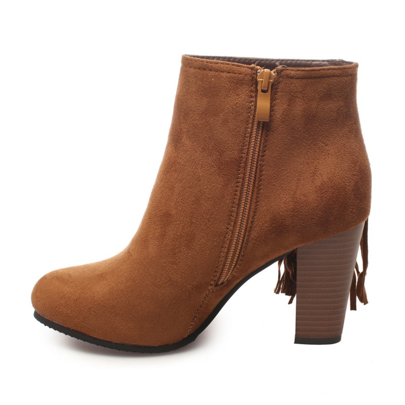 Bottines simili daim avec franges camel
