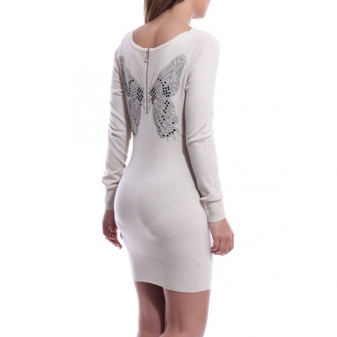 Robe pull dos strass et paillons beige