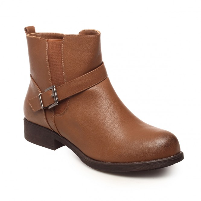 Bottines grande taille simili cuir camel