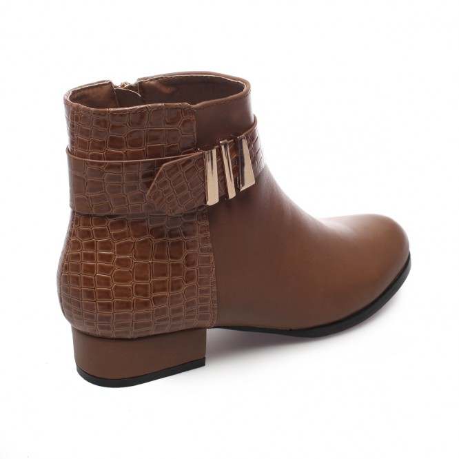 Bottines aspect cuir et croco avec brides marron