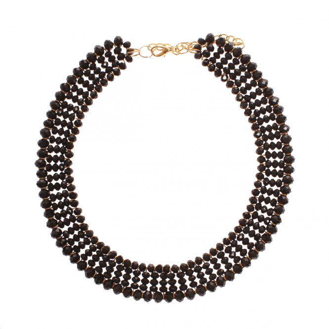 Collier perles brillance noir