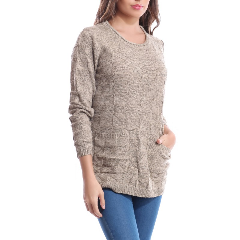 Pull en maille 2 poches taupe