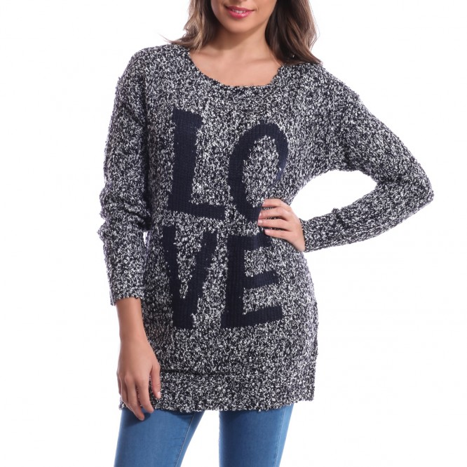 Pull manches longues Love bleu