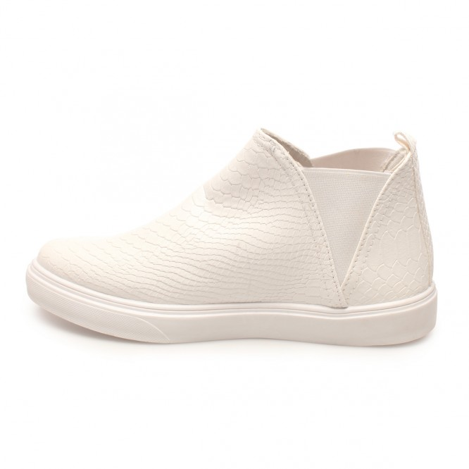 Slip-on montantes motif croco blanc
