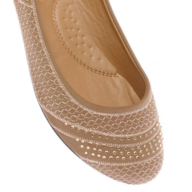 Ballerines plates avec strass taupe