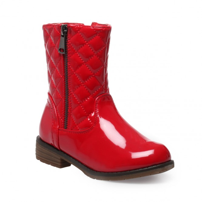 Bottines enfant vernis à fermeture à zip rouge