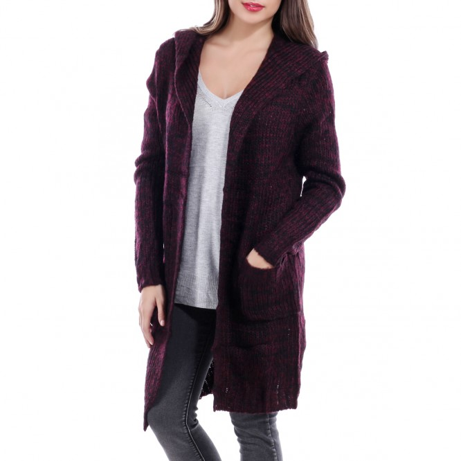 Gilet long maille chiné bordeaux