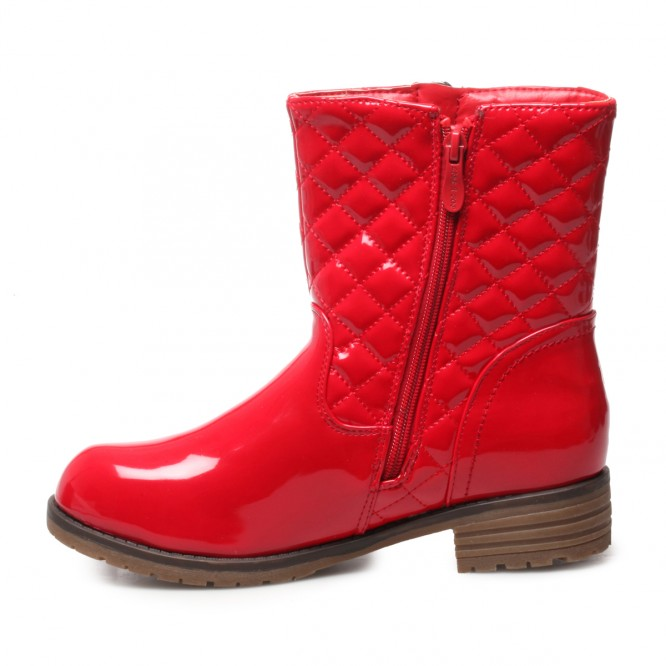 Bottines vernis double zip rouge