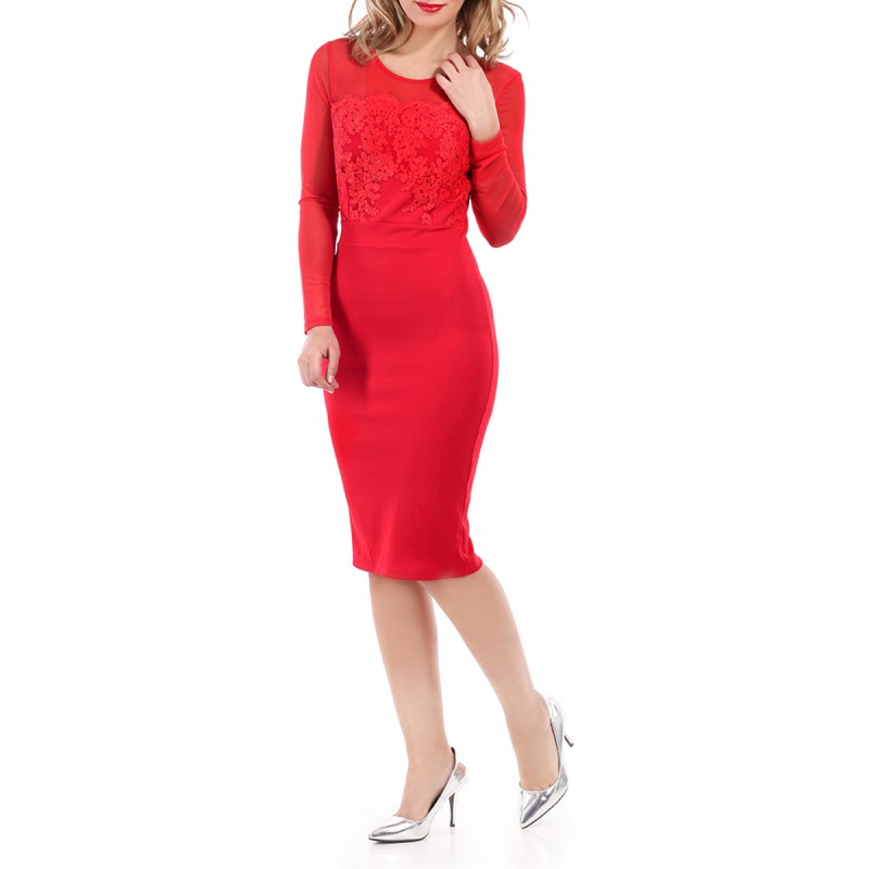 Robe manches longues effet bustier rouge