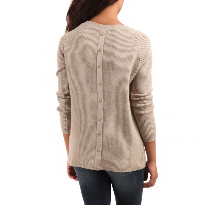 Pull en maille avec boutons dos taupe