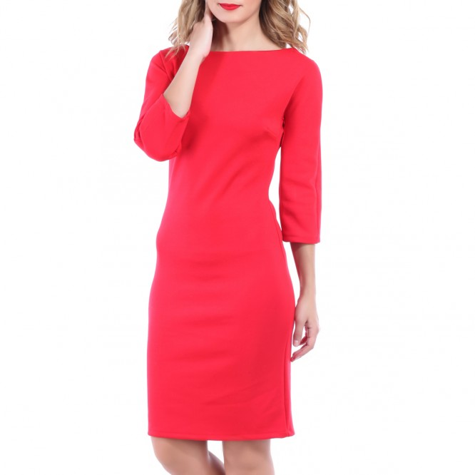 Robe unie manches 3/4 rouge