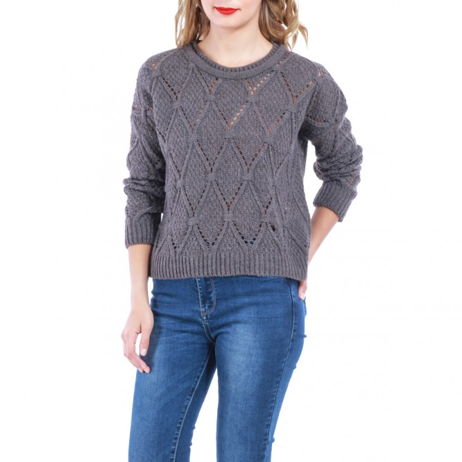 Pull à maille ajourée taupe