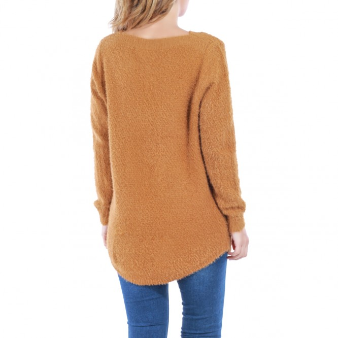 Pull à maille douce camel