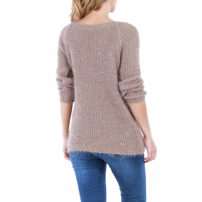Pull en maille taupe