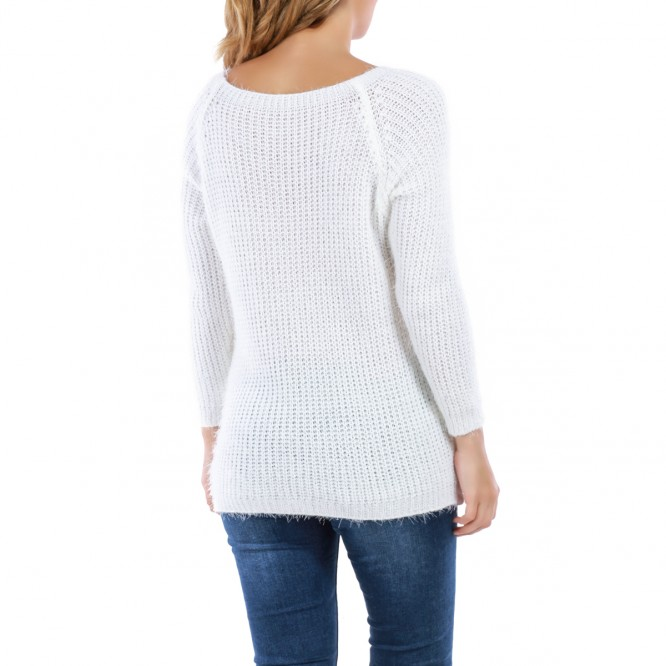 Pull en maille blanc