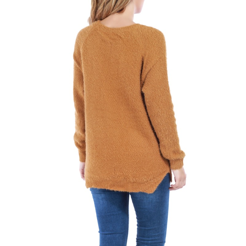 Pull maille douce et poches caamel femme la modeuse for Pull camel femme